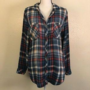 Anthro Cloth & Stone Plaid Flannel Button Up Shirt